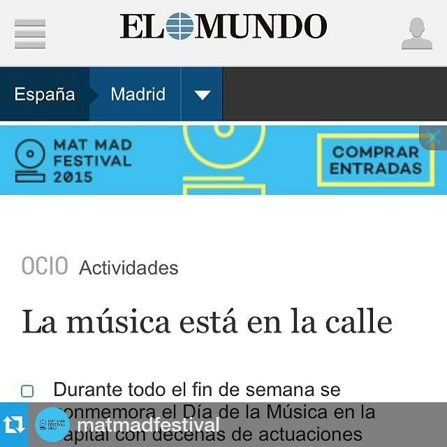 """#Repost @matmadfestival・・・@elmundofoto """"La música está en la calle"""".Mañana llega #MatMadFestival que formará parte de un día tan especial como es el Día Europeo de la Música. Desde las 11h de la mañana hasta las 02h de la madrugada ¡el @mataderomadrid va a ser una gran fiesta para grandes y pequeños!Consigue tus entradas: http://matmadfestival.com/entradas"""