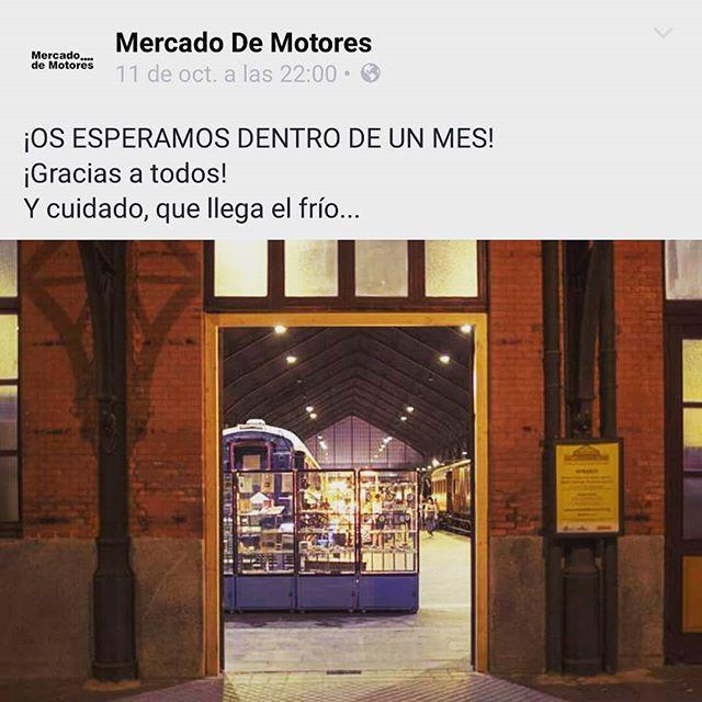 See you in November!!Gracias a todos los que pasasteis por @mercadodemotores_oficial  este fin de semana!!! #museoferrocarril #madrid #planesenmadrid #weekend #byebye #hastapronto #mercadodemotores