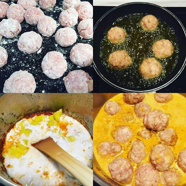 Ayer en clase de cocina…albondigas con salsa de curry y mango!! Gracias a @thegoodfoodcomp fue un planazo y todo exquisito!!! #ñamñam #cookingclass #cocina #deli #gastro #planazo #amigas #clases #coco #mango #curry #meatballs
