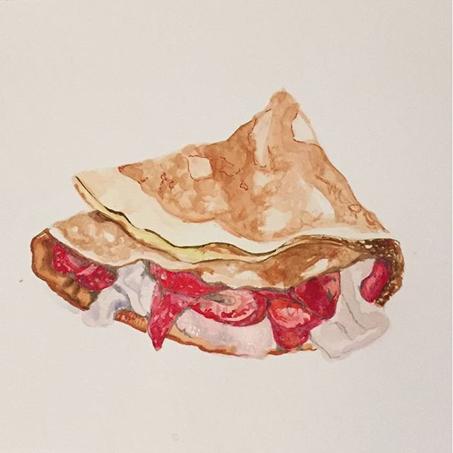 Art by @elenalacalifornie#deco #handmade #waterpaint #crepes #madrid #nutella #fruit