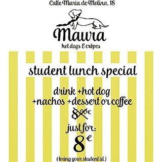 Special offer at @maurahotdogsncrepes Nutella crepe for dessert  #crepes #nutella #igers #madrid #ñam #foodporn #menu #special #food #students #ie #estudiantes #maura #hotdog #hotdogs #perritocaliente #veggie #frankfurt #comida #diciembre #december