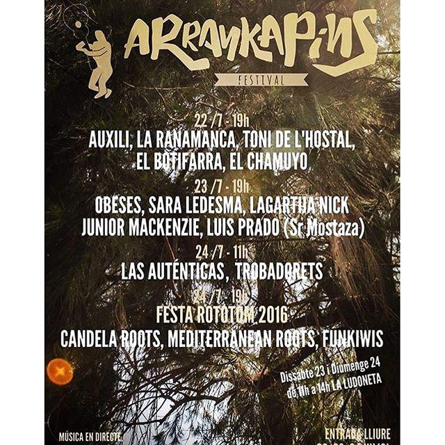 ¡Programación del Festival Arrankapins! 🏻️😎… Pueden encontrar mayor información en la página arrankapinsfestival.com. #Arrankapins #castellondelaplana #pinardelgrao @rototomsunsplash